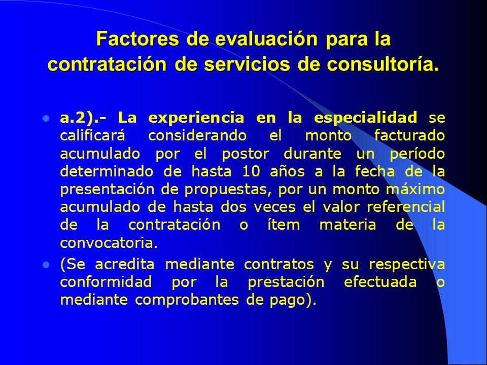 Factores de evaluación para la contratación de servicios de consultoría. a.2).- La experiencia en la especialidad se calificará considerando el monto