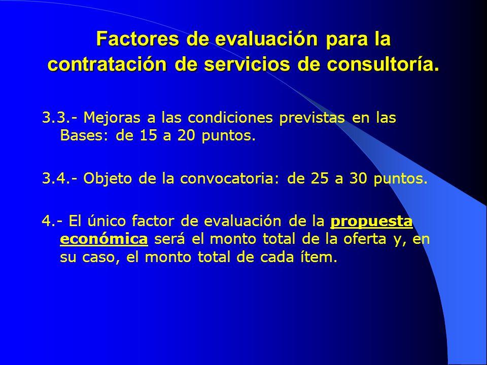 Factores de evaluación para la contratación de servicios de consultoría. 3.3.- Mejoras a las condiciones previstas en las Bases: de 15 a 20 puntos. 3.