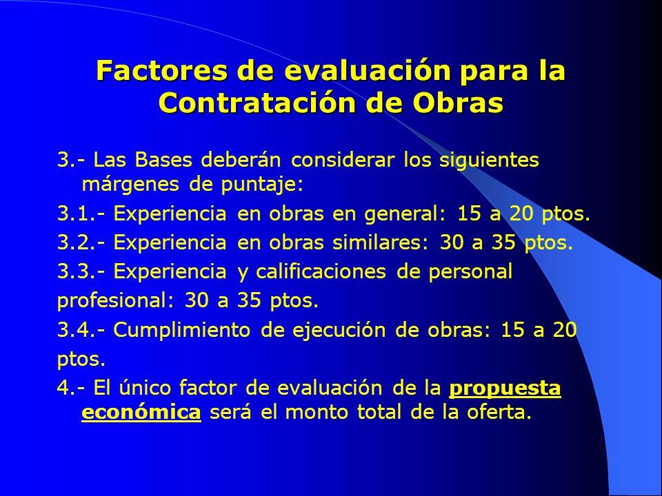 Factores de evaluación para la Contratación de Obras 3.- Las Bases deberán considerar los siguientes márgenes de puntaje: 3.1.- Experiencia en obras e