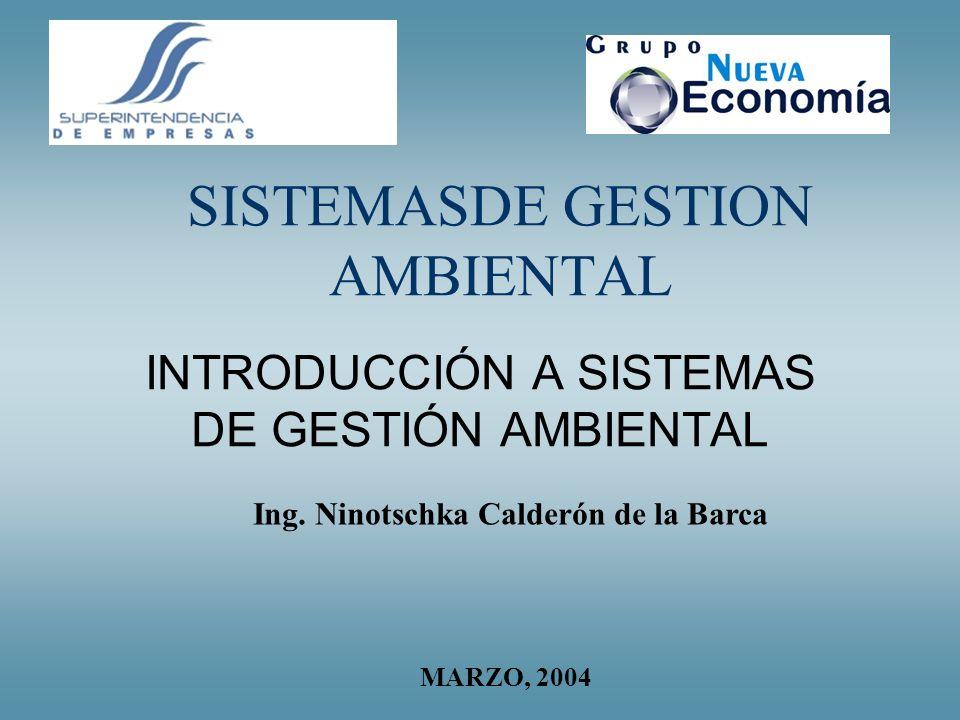 SISTEMASDE GESTION AMBIENTAL INTRODUCCIÓN A SISTEMAS DE GESTIÓN AMBIENTAL Ing. Ninotschka Calderón de la Barca MARZO, 2004