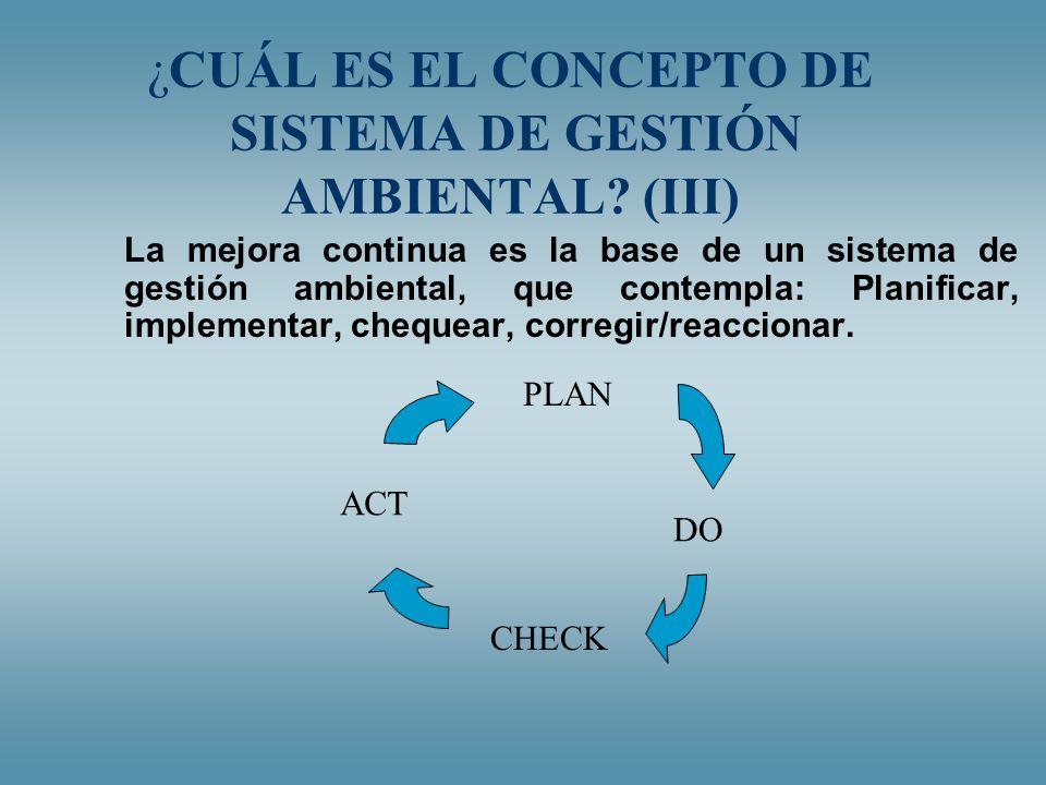 ¿CUÁL ES EL CONCEPTO DE SISTEMA DE GESTIÓN AMBIENTAL? (III) La mejora continua es la base de un sistema de gestión ambiental, que contempla: Planifica