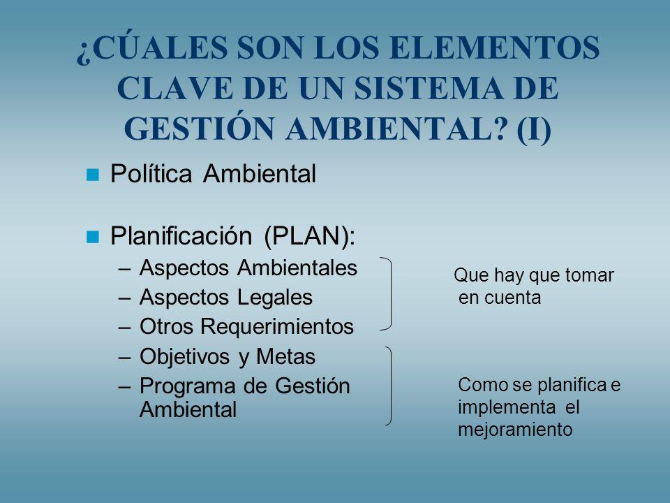 ¿CÚALES SON LOS ELEMENTOS CLAVE DE UN SISTEMA DE GESTIÓN AMBIENTAL? (I) Política Ambiental Planificación (PLAN): –Aspectos Ambientales –Aspectos Legal