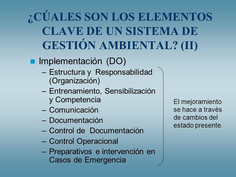 ¿CÚALES SON LOS ELEMENTOS CLAVE DE UN SISTEMA DE GESTIÓN AMBIENTAL? (II) Implementación (DO) –Estructura y Responsabilidad (Organización) –Entrenamien