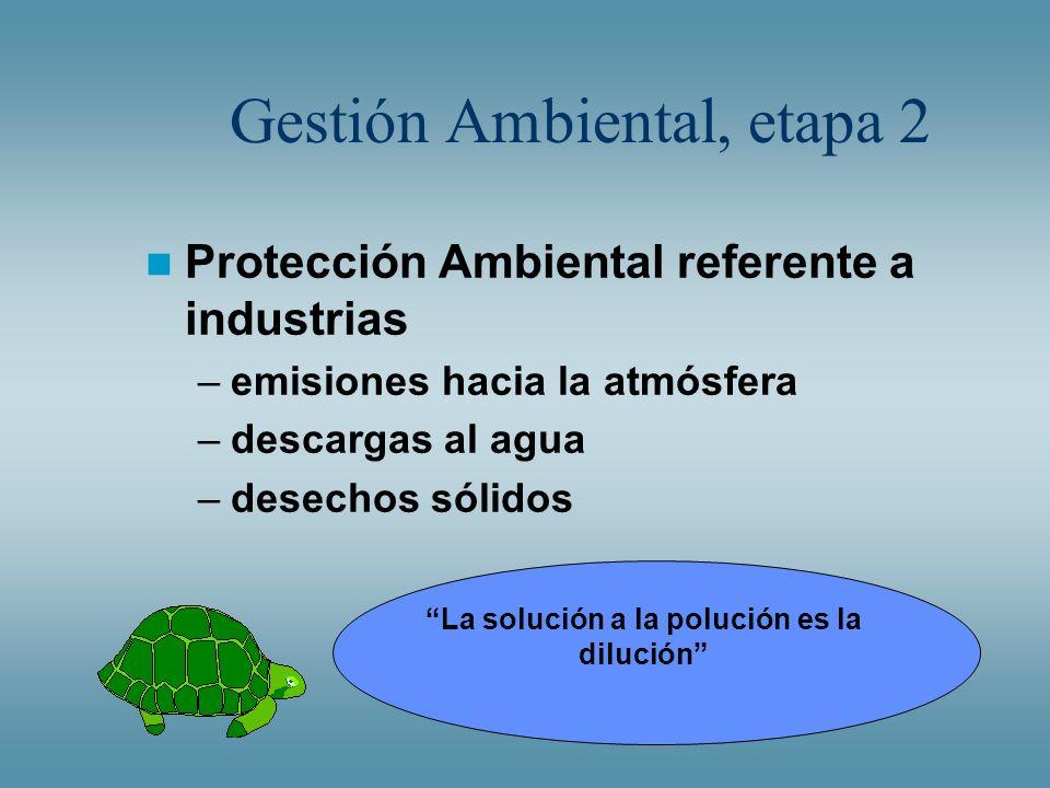 Gestión Ambiental, etapa 2 Protección Ambiental referente a industrias –emisiones hacia la atmósfera –descargas al agua –desechos sólidos La solución
