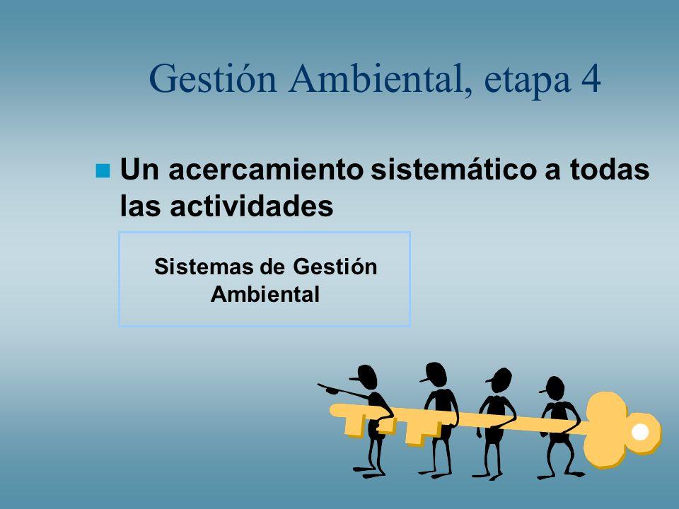 Gestión Ambiental, etapa 4 Un acercamiento sistemático a todas las actividades Sistemas de Gestión Ambiental