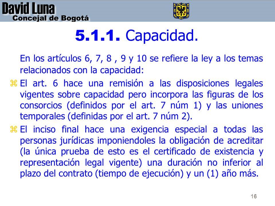 16 5.1.1. Capacidad. En los artículos 6, 7, 8, 9 y 10 se refiere la ley a los temas relacionados con la capacidad: zEl art. 6 hace una remisión a las