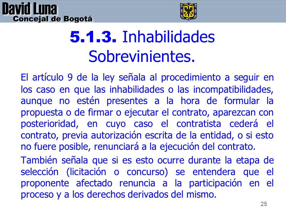 25 5.1.3. Inhabilidades Sobrevinientes. El artículo 9 de la ley señala al procedimiento a seguir en los caso en que las inhabilidades o las incompatib