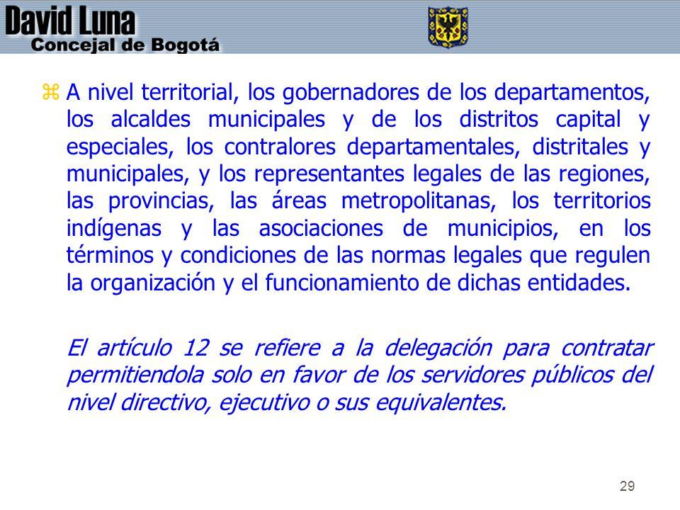 29 zA nivel territorial, los gobernadores de los departamentos, los alcaldes municipales y de los distritos capital y especiales, los contralores depa