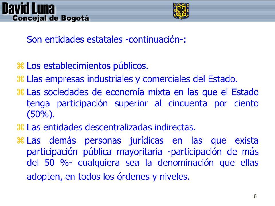 5 Son entidades estatales -continuación-: zLos establecimientos públicos. zLlas empresas industriales y comerciales del Estado. zLas sociedades de eco