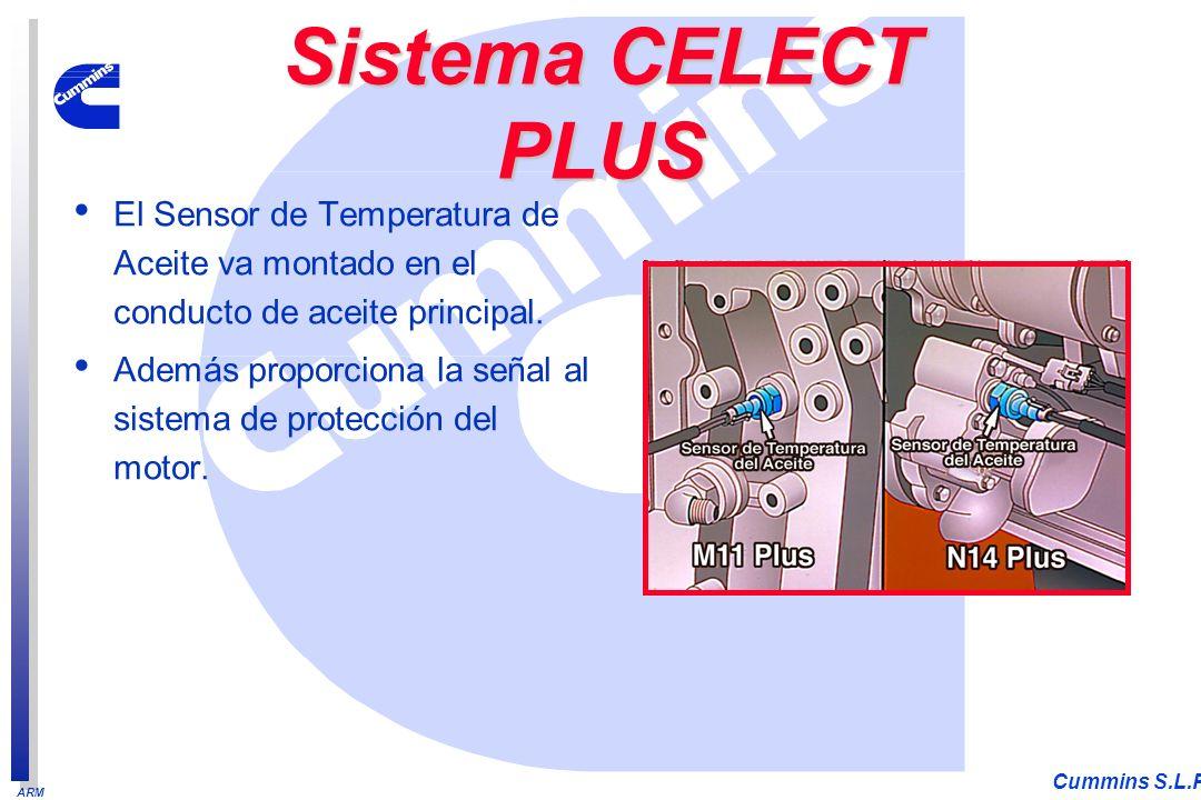 ARM Cummins S.L.P. El Sensor de Temperatura de Aceite va montado en el conducto de aceite principal. Además proporciona la señal al sistema de protecc