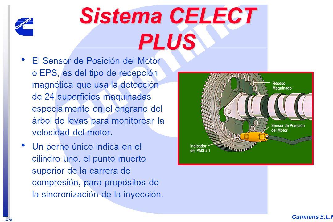 ARM Cummins S.L.P. El Sensor de Posición del Motor o EPS, es del tipo de recepción magnética que usa la detección de 24 superficies maquinadas especia