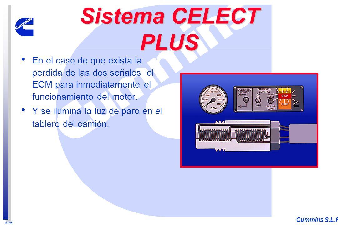 ARM Cummins S.L.P. En el caso de que exista la perdida de las dos señales el ECM para inmediatamente el funcionamiento del motor. Y se ilumina la luz