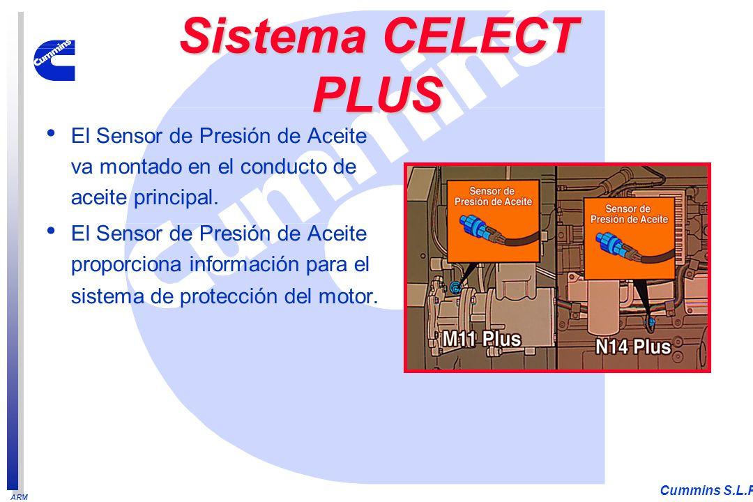 ARM Cummins S.L.P. El Sensor de Presión de Aceite va montado en el conducto de aceite principal. El Sensor de Presión de Aceite proporciona informació
