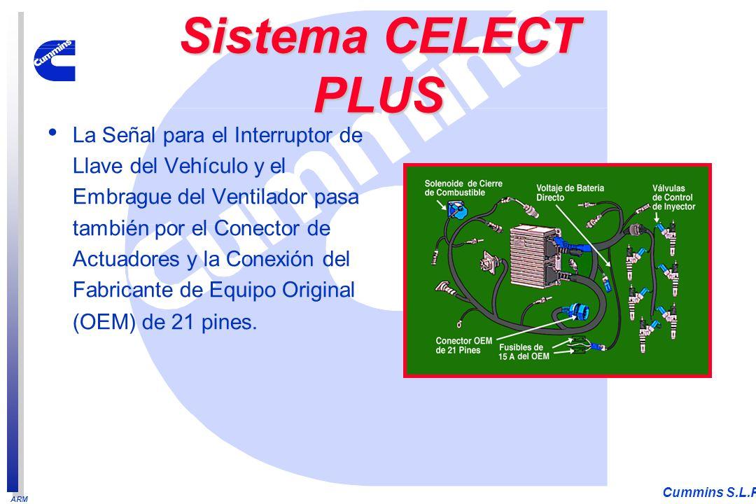ARM Cummins S.L.P. La Señal para el Interruptor de Llave del Vehículo y el Embrague del Ventilador pasa también por el Conector de Actuadores y la Con