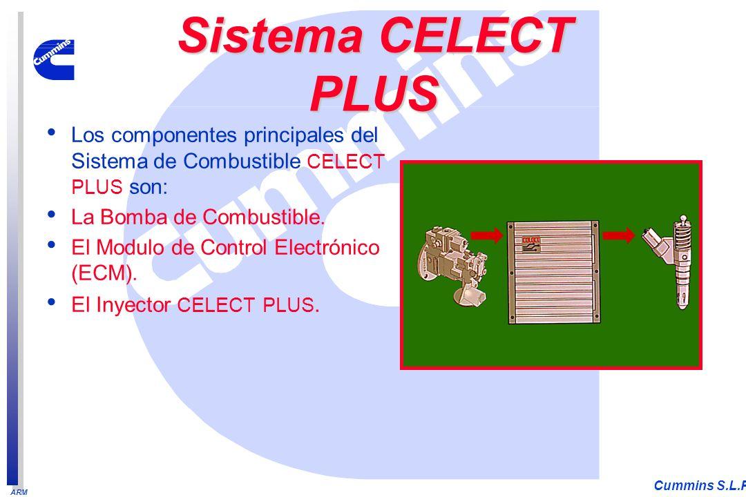 ARM Cummins S.L.P. Los componentes principales del Sistema de Combustible CELECT PLUS son: La Bomba de Combustible. El Modulo de Control Electrónico (