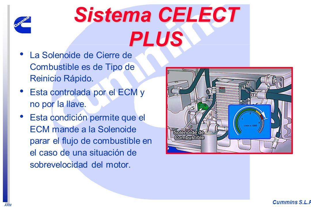ARM Cummins S.L.P. La Solenoide de Cierre de Combustible es de Tipo de Reinicio Rápido. Esta controlada por el ECM y no por la llave. Esta condición p