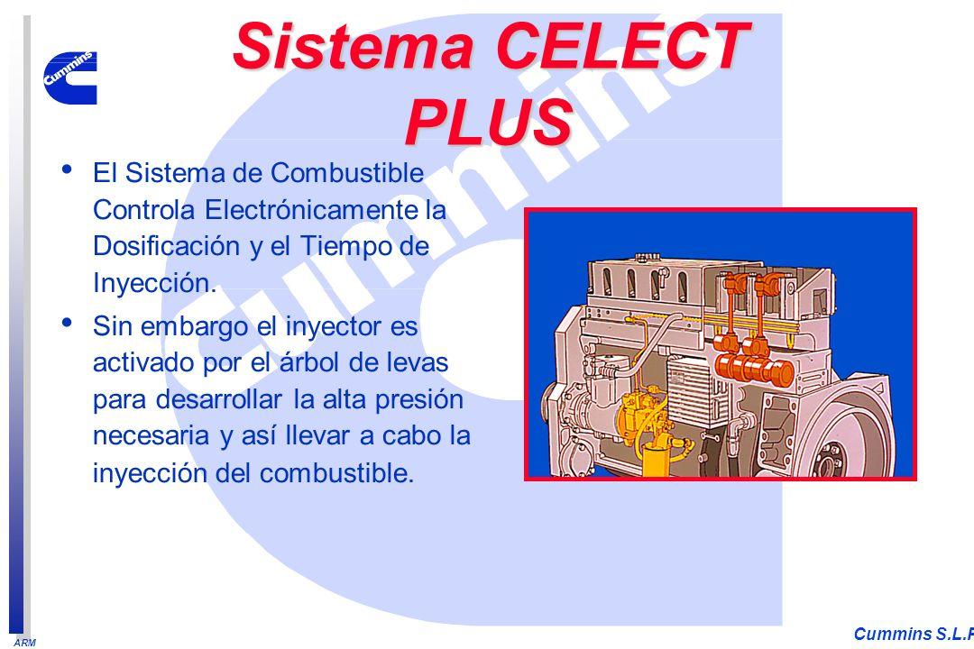 ARM Cummins S.L.P. El Sistema de Combustible Controla Electrónicamente la Dosificación y el Tiempo de Inyección. Sin embargo el inyector es activado p