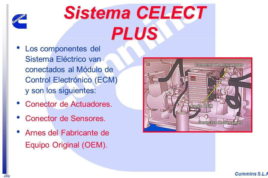 ARM Cummins S.L.P. Los componentes del Sistema Eléctrico van conectados al Módulo de Control Electrónico (ECM) y son los siguientes: Conector de Actua