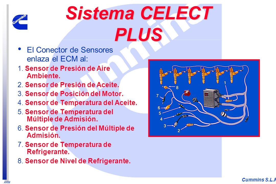 ARM Cummins S.L.P. El Conector de Sensores enlaza el ECM al: 1. Sensor de Presión de Aire Ambiente. 2. Sensor de Presión de Aceite. 3. Sensor de Posic