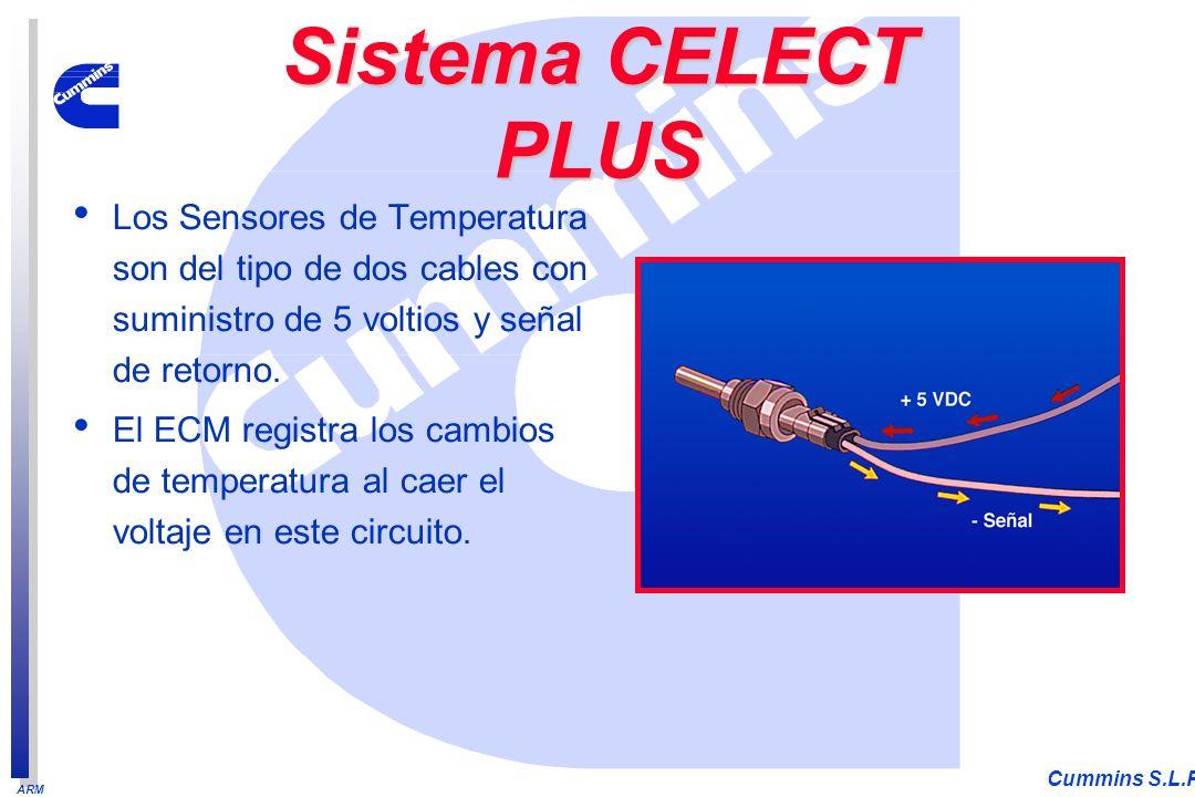 ARM Cummins S.L.P. Los Sensores de Temperatura son del tipo de dos cables con suministro de 5 voltios y señal de retorno. El ECM registra los cambios