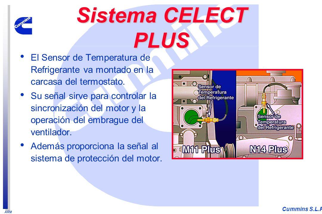 ARM Cummins S.L.P. El Sensor de Temperatura de Refrigerante va montado en la carcasa del termostato. Su señal sirve para controlar la sincronización d