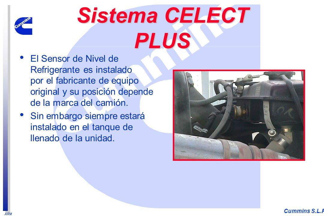 ARM Cummins S.L.P. El Sensor de Nivel de Refrigerante es instalado por el fabricante de equipo original y su posición depende de la marca del camión.