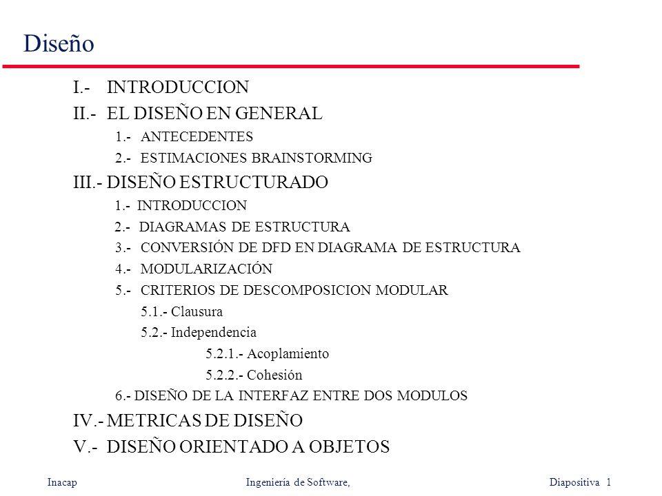 Inacap Ingeniería de Software, Diapositiva 1 Diseño I.-INTRODUCCION II.-EL DISEÑO EN GENERAL 1.-ANTECEDENTES 2.-ESTIMACIONES BRAINSTORMING III.-DISEÑO