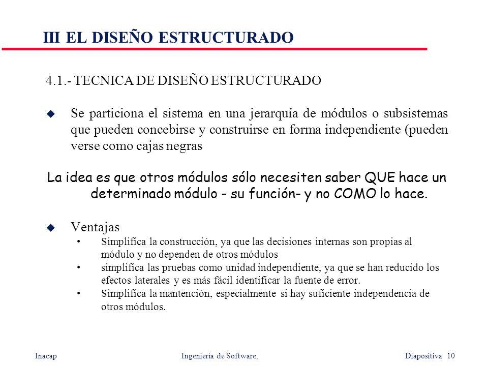 Inacap Ingeniería de Software, Diapositiva 10 III EL DISEÑO ESTRUCTURADO 4.1.- TECNICA DE DISEÑO ESTRUCTURADO u Se particiona el sistema en una jerarq