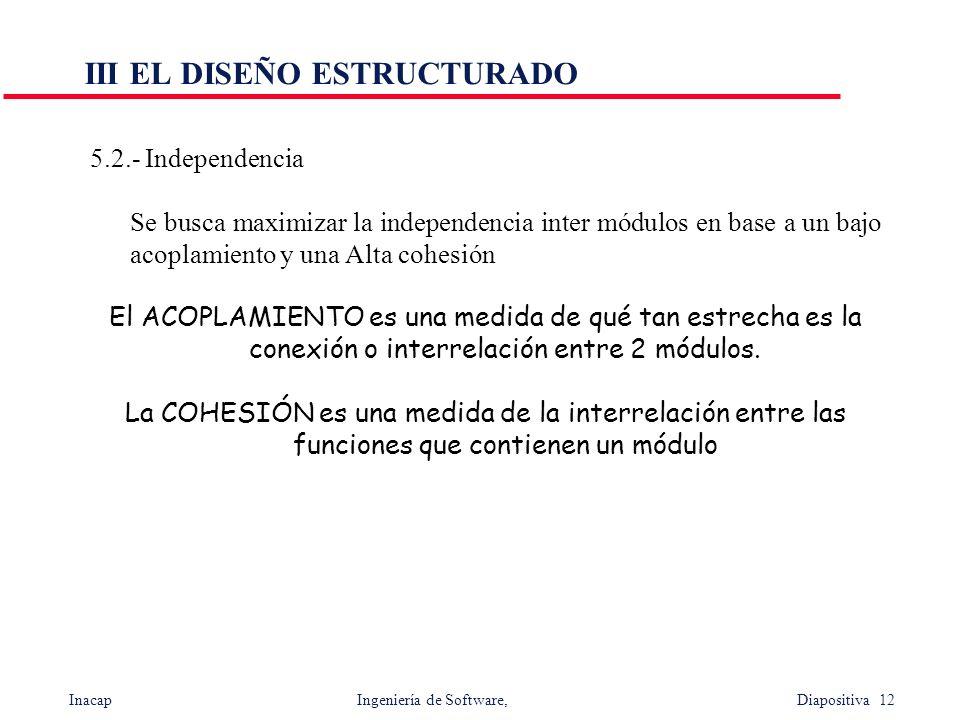 Inacap Ingeniería de Software, Diapositiva 12 III EL DISEÑO ESTRUCTURADO 5.2.- Independencia Se busca maximizar la independencia inter módulos en base