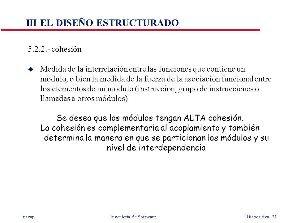Inacap Ingeniería de Software, Diapositiva 21 III EL DISEÑO ESTRUCTURADO 5.2.2.- cohesión Medida de la interrelación entre las funciones que contiene