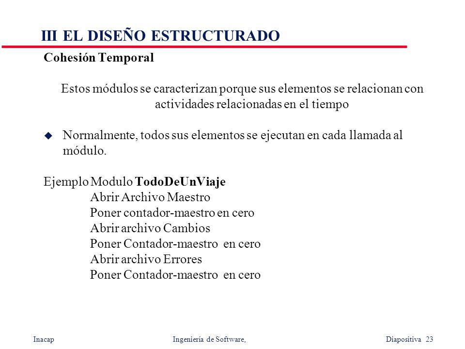 Inacap Ingeniería de Software, Diapositiva 23 III EL DISEÑO ESTRUCTURADO Cohesión Temporal Estos módulos se caracterizan porque sus elementos se relac