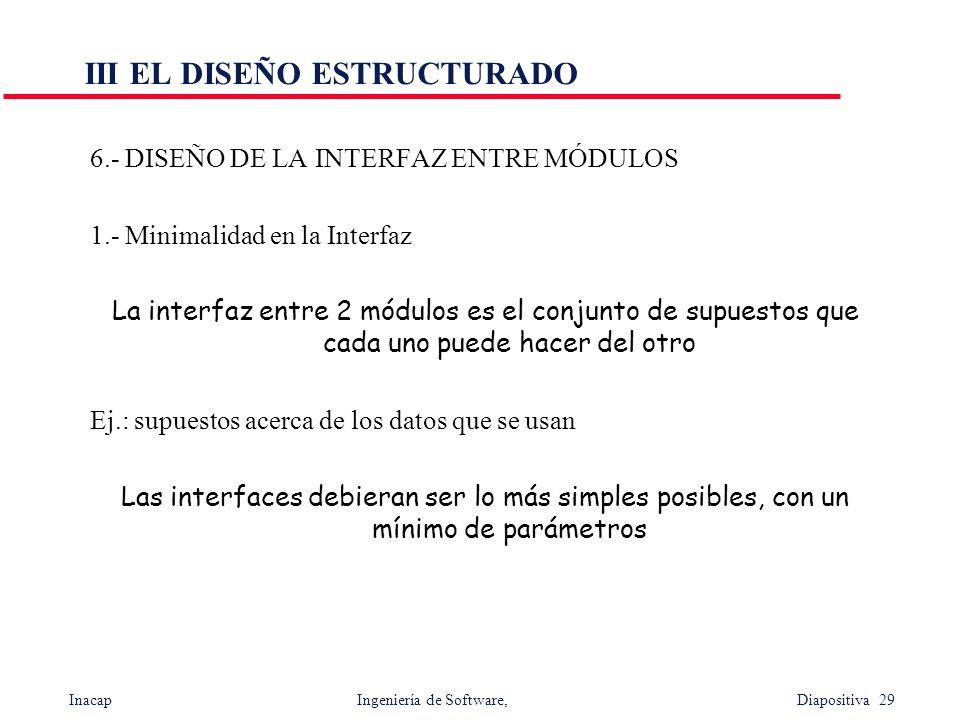 Inacap Ingeniería de Software, Diapositiva 29 III EL DISEÑO ESTRUCTURADO 6.- DISEÑO DE LA INTERFAZ ENTRE MÓDULOS 1.- Minimalidad en la Interfaz La int