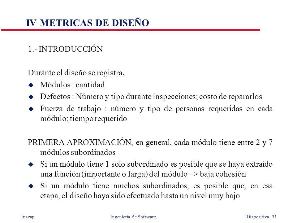 Inacap Ingeniería de Software, Diapositiva 31 IV METRICAS DE DISEÑO 1.- INTRODUCCIÓN Durante el diseño se registra. u Módulos : cantidad u Defectos :