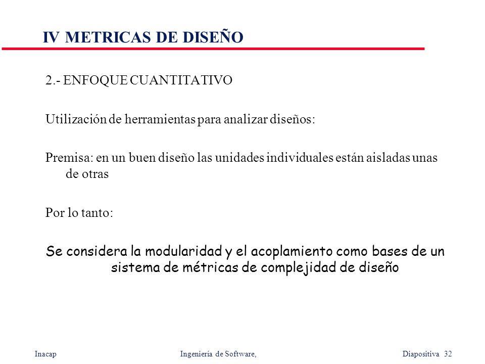 Inacap Ingeniería de Software, Diapositiva 32 IV METRICAS DE DISEÑO 2.- ENFOQUE CUANTITATIVO Utilización de herramientas para analizar diseños: Premis