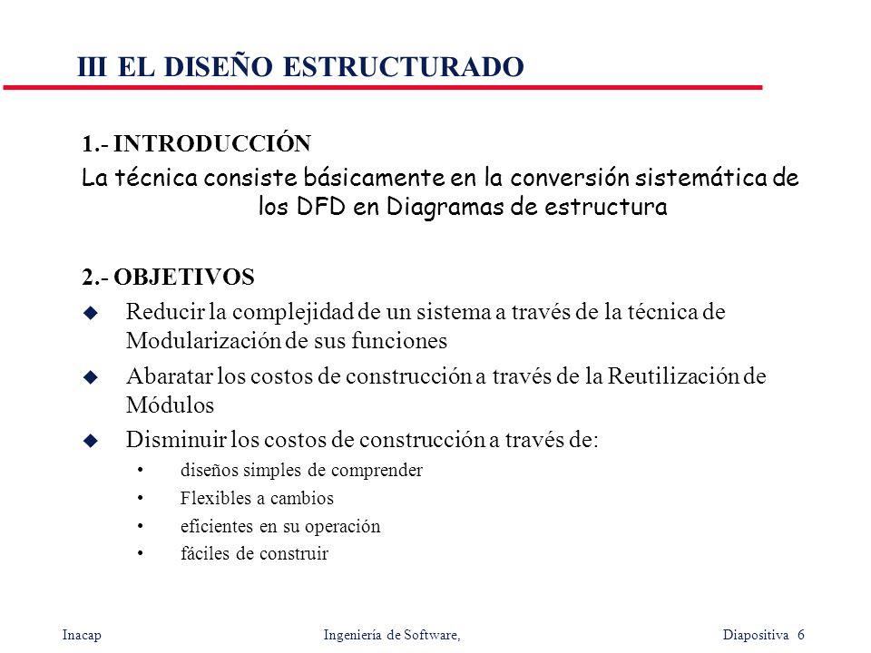 Inacap Ingeniería de Software, Diapositiva 6 III EL DISEÑO ESTRUCTURADO 1.- INTRODUCCIÓN La técnica consiste básicamente en la conversión sistemática