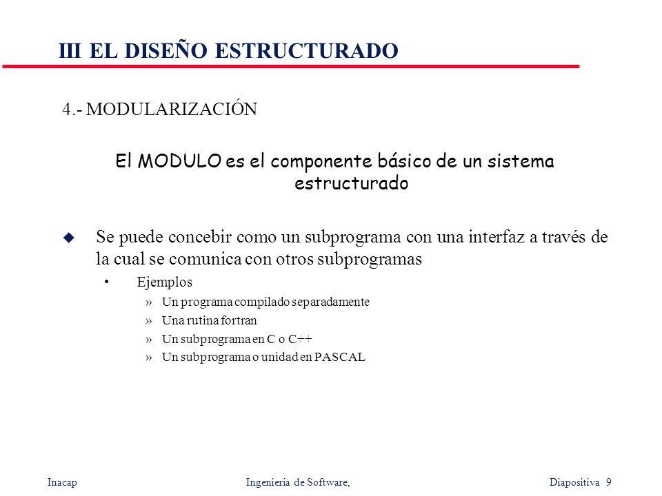 Inacap Ingeniería de Software, Diapositiva 9 III EL DISEÑO ESTRUCTURADO 4.- MODULARIZACIÓN El MODULO es el componente básico de un sistema estructurad