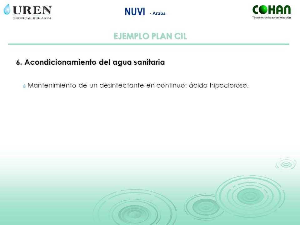EJEMPLO PLAN CIL NUVI - Araba 6. Acondicionamiento del agua sanitaria Mantenimiento de un desinfectante en continuo: ácido hipocloroso.