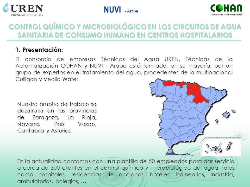 CONTROL QUÍMICO Y MICROBIOLÓGICO EN LOS CIRCUITOS DE AGUA SANITARIA DE CONSUMO HUMANO EN CENTROS HOSPITALARIOS NUVI - Araba Nuestra experiencia en el control químico y microbiológico y en particular de legionella se inició hace ahora 20 años y se intensificó a partir de la publicación de la norma UNE 100-030-94: Guía para la prevención de la legionella en instalaciones.