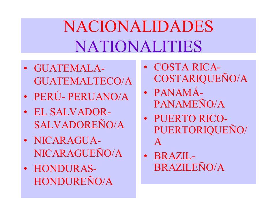 NACIONALIDADES NATIONALITIES GUATEMALA- GUATEMALTECO/A PERÚ- PERUANO/A EL SALVADOR- SALVADOREÑO/A NICARAGUA- NICARAGUEÑO/A HONDURAS- HONDUREÑO/A COSTA
