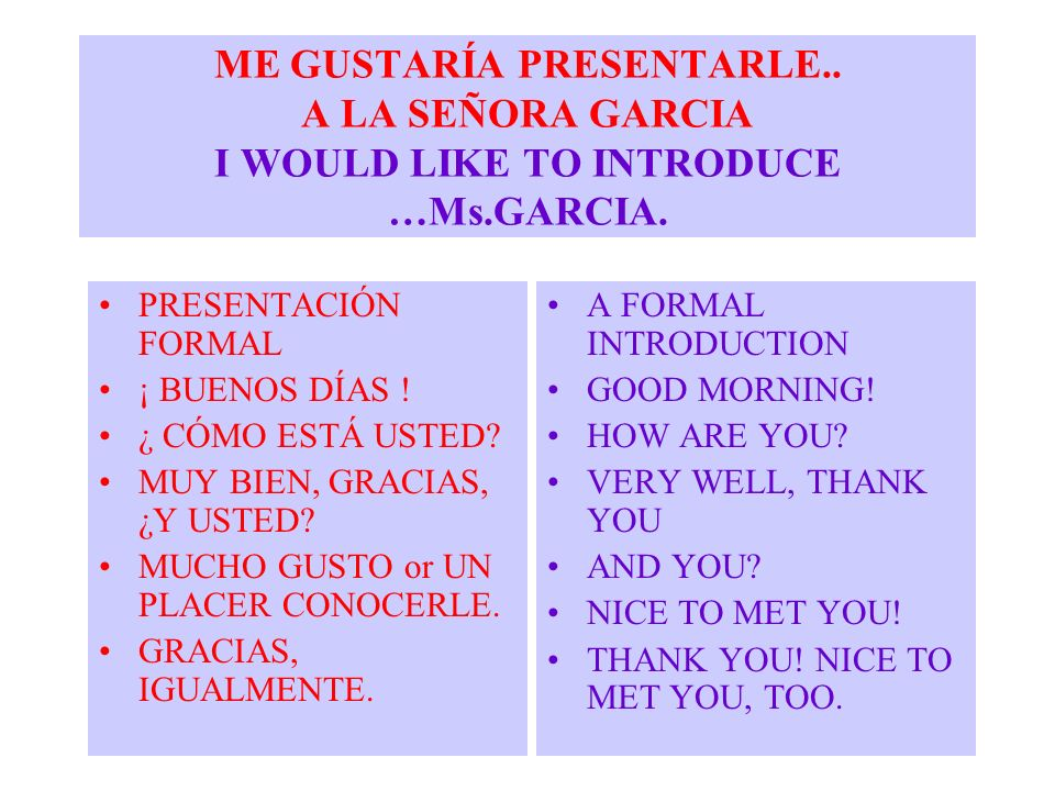ME GUSTARÍA PRESENTARLE.. A LA SEÑORA GARCIA I WOULD LIKE TO INTRODUCE …Ms.GARCIA. PRESENTACIÓN FORMAL ¡ BUENOS DÍAS ! ¿ CÓMO ESTÁ USTED? MUY BIEN, GR