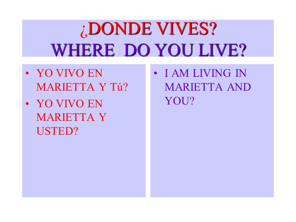 DONDE VIVES? WHERE DO YOU LIVE? ¿DONDE VIVES? WHERE DO YOU LIVE? YO VIVO EN MARIETTA Y Tú? YO VIVO EN MARIETTA Y USTED? I AM LIVING IN MARIETTA AND YO