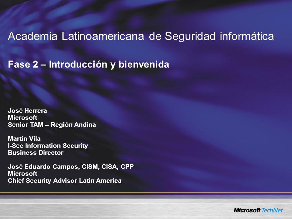 Academia Latinoamericana de Seguridad informática Fase 2 – Introducción y bienvenida José Herrera Microsoft Senior TAM – Región Andina Martin Vila I-S