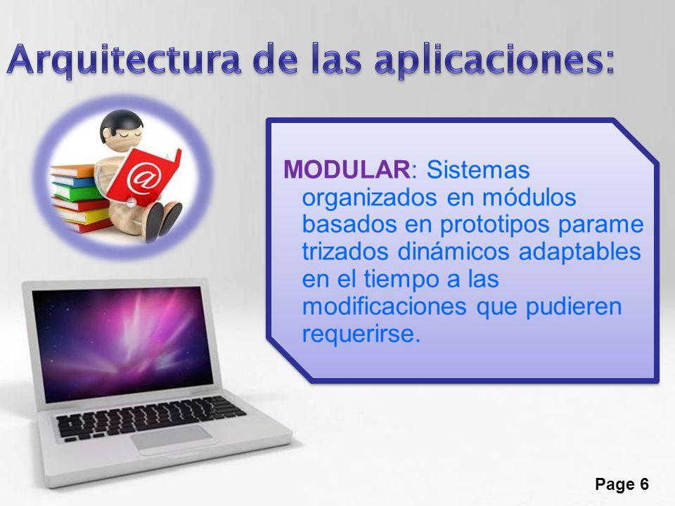 Page 6 MODULAR: Sistemas organizados en módulos basados en prototipos parame trizados dinámicos adaptables en el tiempo a las modificaciones que pudie
