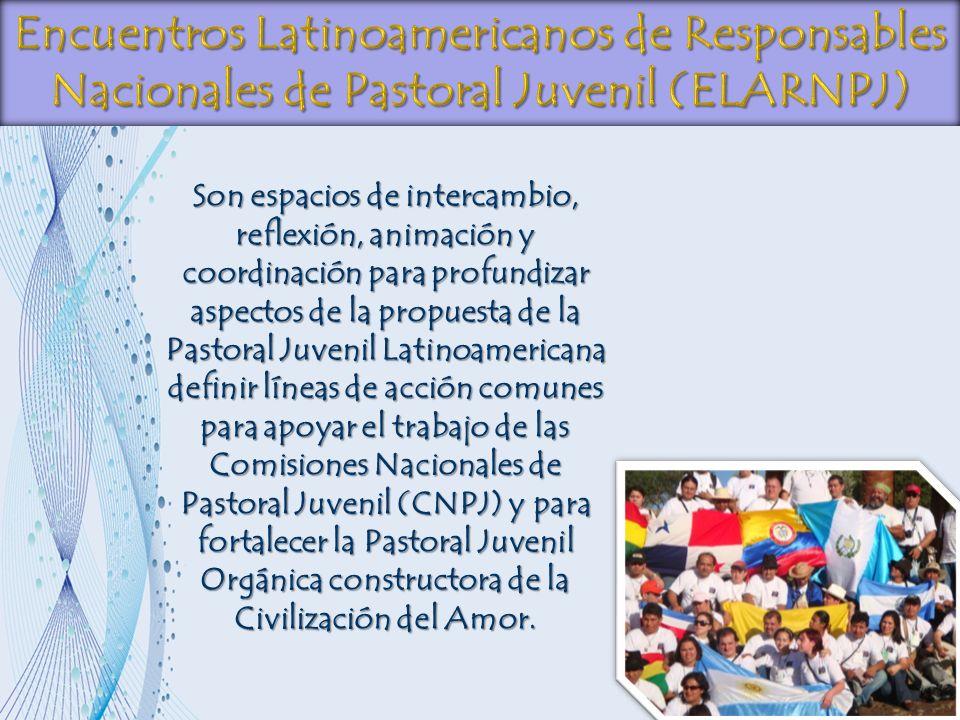 Son espacios de intercambio, reflexión, animación y coordinación para profundizar aspectos de la propuesta de la Pastoral Juvenil Latinoamericana defi