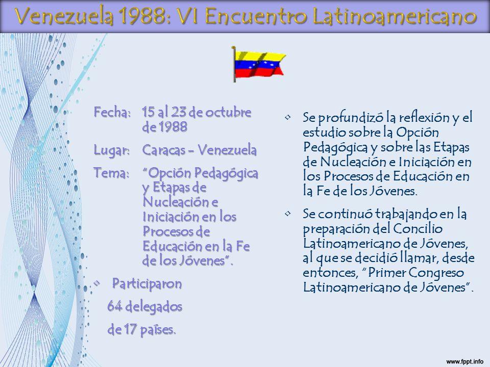 Fecha:15 al 23 de octubre de 1988 Lugar:Caracas - Venezuela Tema:Opción Pedagógica y Etapas de Nucleación e Iniciación en los Procesos de Educación en