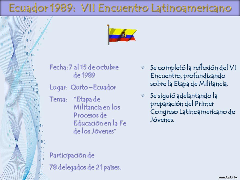 Fecha: 7 al 15 de octubre de 1989 Lugar: Quito –Ecuador Tema:Etapa de Militancia en los Procesos de Educación en la Fe de los Jóvenes Participación de