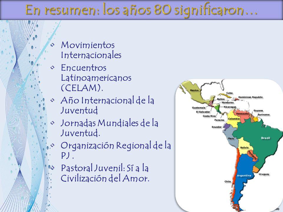 Movimientos Internacionales Encuentros Latinoamericanos (CELAM). Año Internacional de la Juventud Jornadas Mundiales de la Juventud. Organización Regi