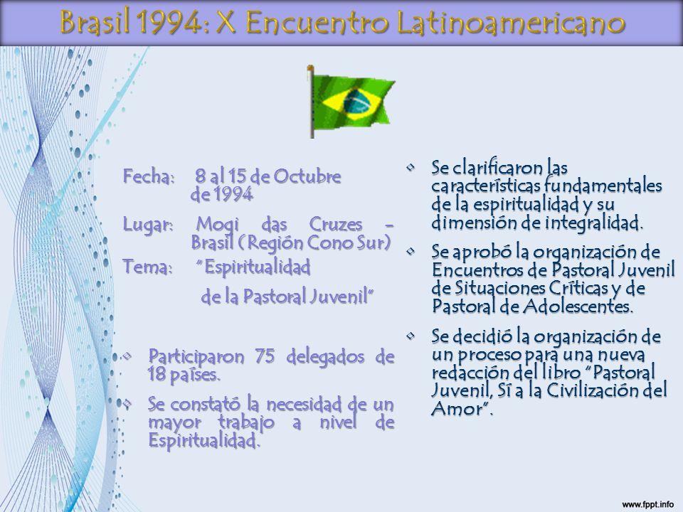 Fecha: 8 al 15 de Octubre de 1994 Lugar: Mogi das Cruzes - Brasil (Región Cono Sur) Tema: Espiritualidad de la Pastoral Juvenil de la Pastoral Juvenil