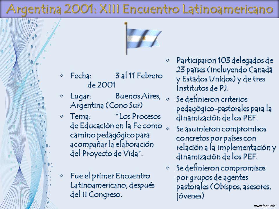 Fecha:3 al 11 Febrero de 2001Fecha:3 al 11 Febrero de 2001 Lugar:Buenos Aires, Argentina (Cono Sur)Lugar:Buenos Aires, Argentina (Cono Sur) Tema:Los P