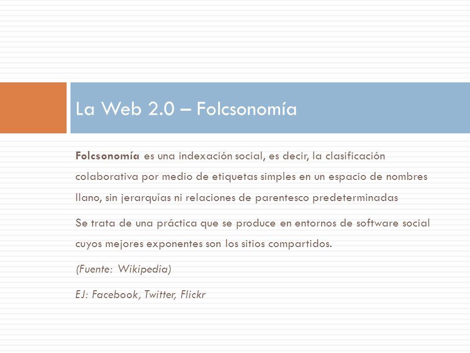 Folcsonomía es una indexación social, es decir, la clasificación colaborativa por medio de etiquetas simples en un espacio de nombres llano, sin jerar
